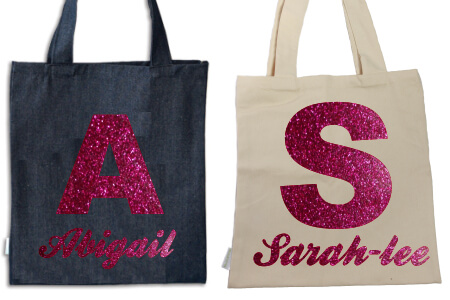 Tote Initial and Name Pink Glitter Flock