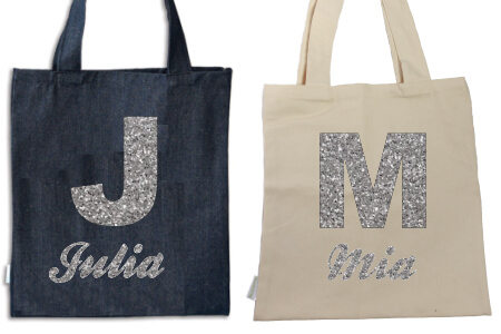 Tote Initial and Name Silver Flock