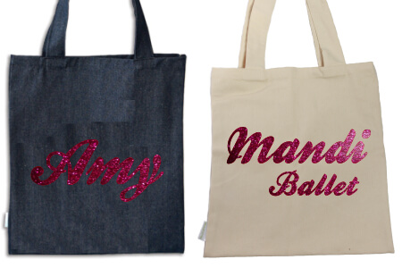 Tote Name Only Pink Glitter Flock