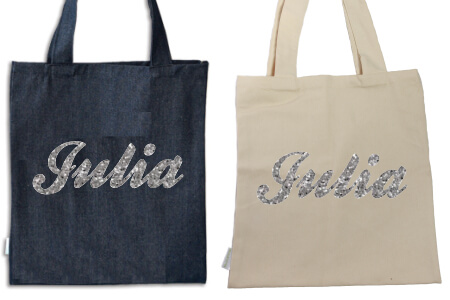 Tote Name Only Silver Glitter Flock