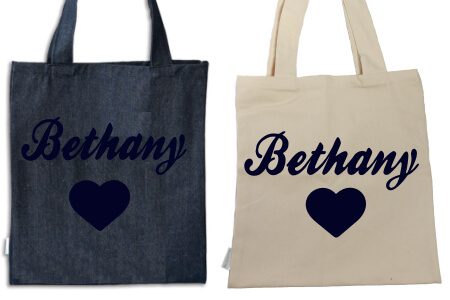 Tote Heart with Name Navy Flock