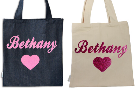 Tote Heart with Name Pink Glitter Vinyl