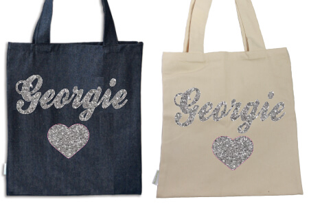 Tote Heart with Name Silver Glitter Vinyl