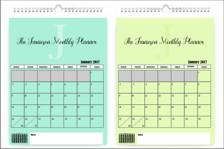NO PHOTO Wall hanging Monthly Calendar